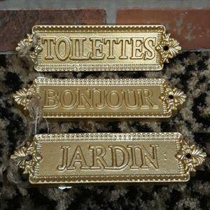 SET Gold French Plaques Signs Bon Jour Toilettes